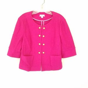 LOFT Pink Wool Jacket Double Breasted Gold